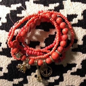 Jewelry - Coral stretchy beaded bracelets ⭐️🌺🌟💥🧡🌼